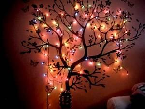Bedroom lights tree wall image on favim