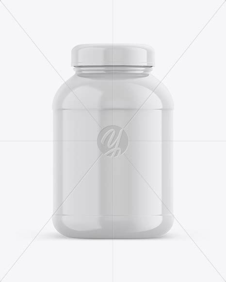 This mockup is available for purchase on yellow images only. Glossy Plastic Protein Jar Mockup - Front View in Jar ...