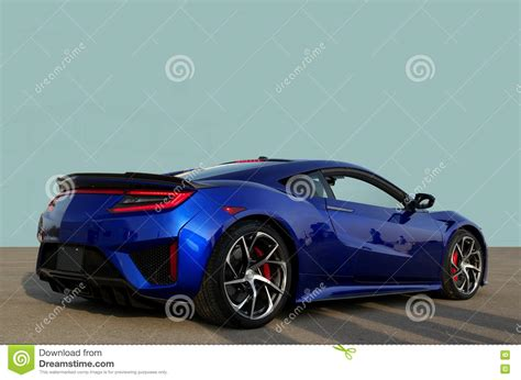 Light Blue Sports Cars by Sports Car Prototype On Cement With A Plain