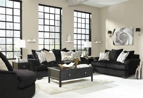 ashley heflin   black fabric sofa