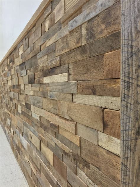 reclaimed barn wood stacked wall panels diy by