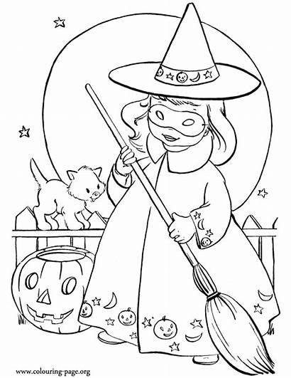 Coloring Halloween Costume Witch Wearing Nice Fun