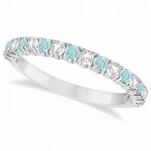 aquamarine diamond wedding band anniversary ring 14k With wedding rings aquamarine