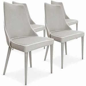 Lot De 4 Chaises Scandinaves : lot de 4 chaises scandinave chic tissu beige liser blanc pas cher scandinave deco ~ Teatrodelosmanantiales.com Idées de Décoration