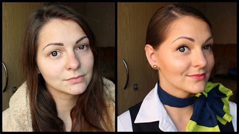 ready   natural flight attendant makeup hair