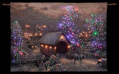Kinkade Thomas Christmas Scenes Tapestry Winter Hanging