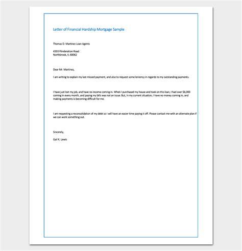 sample letter  financial hardship mortgage sample