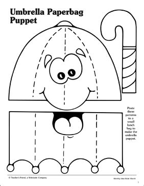 umbrella paper bag puppet pattern printable arts 736 | 9780439503723 030 xlg