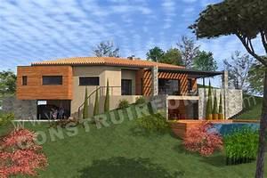 vente de plan de maison avec terrain en pente With amazing entree de jardin moderne 14 maison darchitecte contemporaine toit tuiles et terrasse