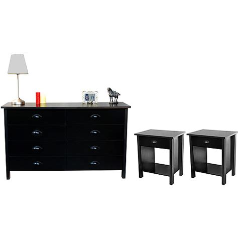 walmart dressers and nightstands nouvelle dresser and pair of nightstands set black
