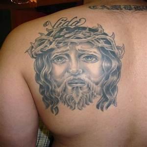 Men cross tattoos on shoulder blade Design Idea