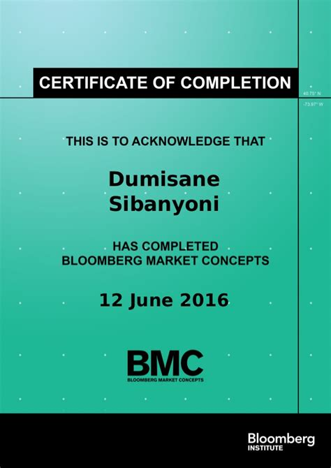 Bloomberg Certification On Resume by Bloomberg Certification Resume