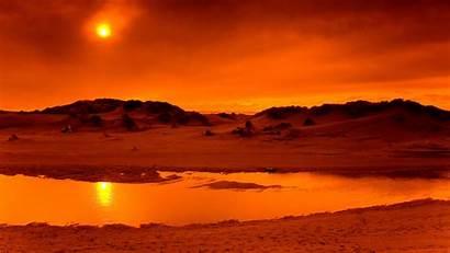 Sunset Desert Background Sunsets Desktop Landscape Sun