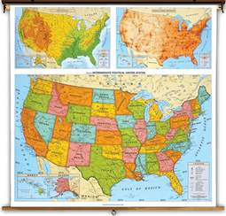 Physical and Political Map United States