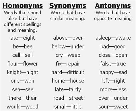 antonym and synonym exles dailypoll co