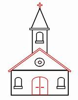 Church Draw Drawing Cartoon Drawings Cartoons Easy Clipart Roof Funny Simple Clip Steeple Outline Door Projects Sketch Step Catholic Burning sketch template