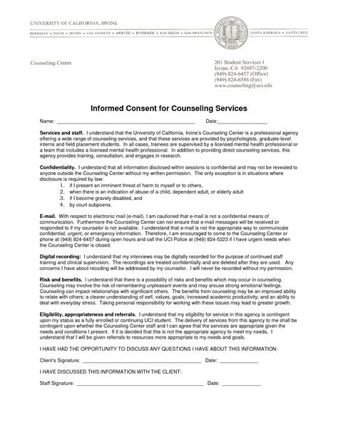 best of psychotherapy informed consent sles counseling informed consent form