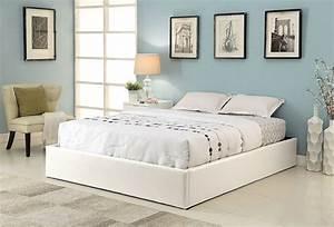 Lit En 180 : cadre de lit simili blanc avec coffre 180 x 200 cm ~ Teatrodelosmanantiales.com Idées de Décoration