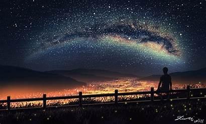 Sky Anime Night Stars Landscape Boy Scenic