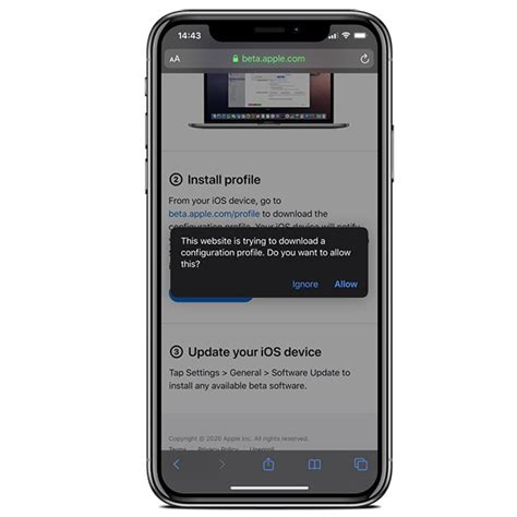 Install iOS 14 latest beta profile without a computer