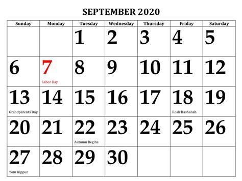 printable september  calendar  holidays sheets