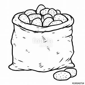 """potatoes bag / cartoon vector and illustration, black and ..."
