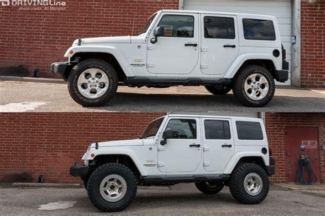 stock jeep vs lifted eibach all terrain lift kit jeep wrangler jk suspension