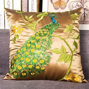 Peacock, Luxury, Silk, Best, Couch, Gold, Throw, Pillows