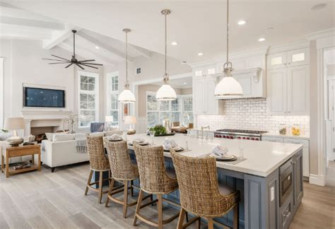 sherwin williams extra white cabinets newly built hamptons style home home bunch interior 331 | White kitchen cabinet paint color and grey kitchen island paint color. White kitchen cabinet paint color is Sherwin Williams Extra White SW 7006.