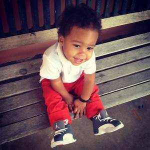 swag baby cute adorable fashion orange nike jordans ...