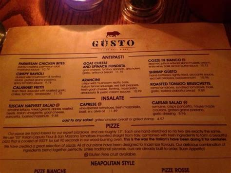 menu picture  gusto italian grill bar moncton