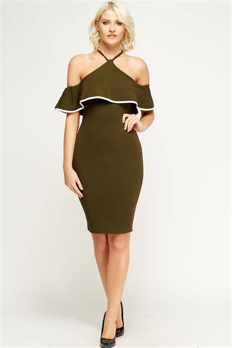 Halter Neck Off Shoulder Dress - Just u00a35