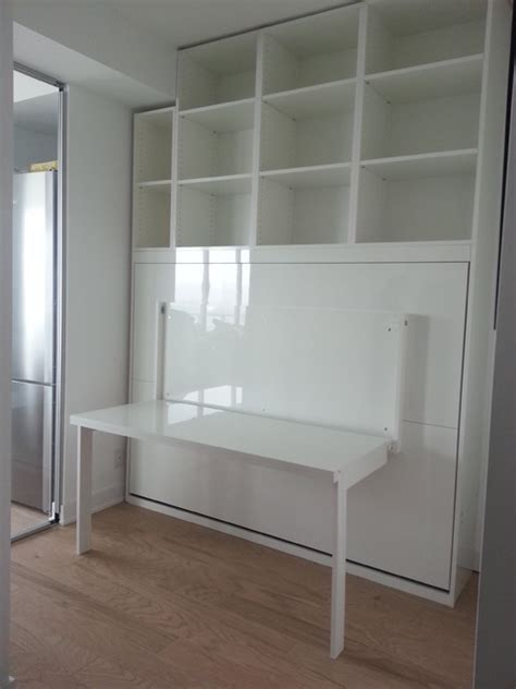 White Murphy Bed by High Gloss White Murphy Bed With Desk Contemporary