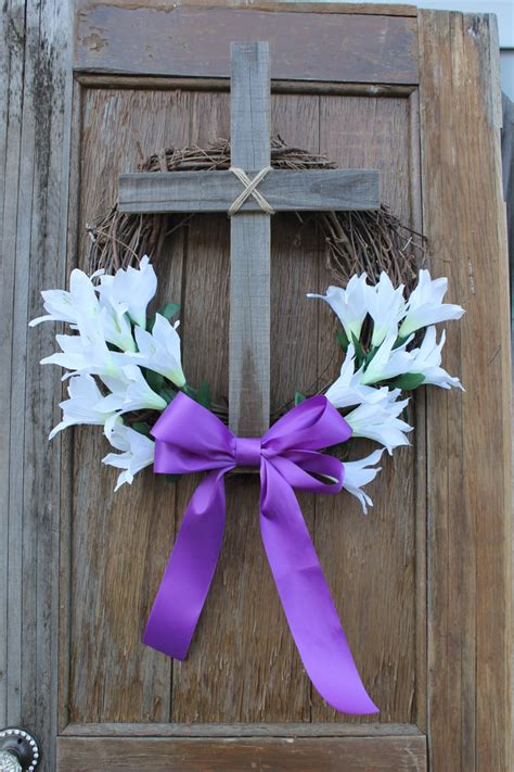 christian easter decorations easter wreath cross wreath easter decor easter lilly