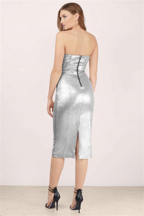 trendy silver midi dress silver dress  neck dress
