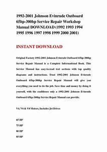 1992 2001 Johnson Evinrude Outboard 65hp 300hp Service