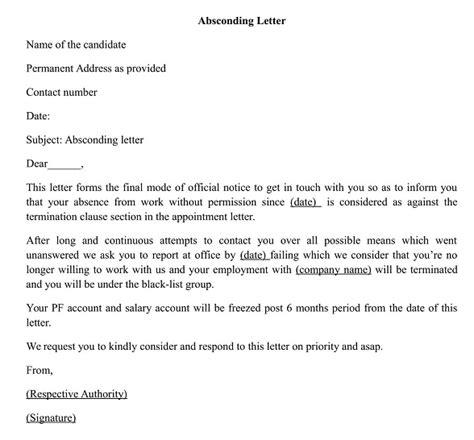 write  letter  absconding  duties wisdom