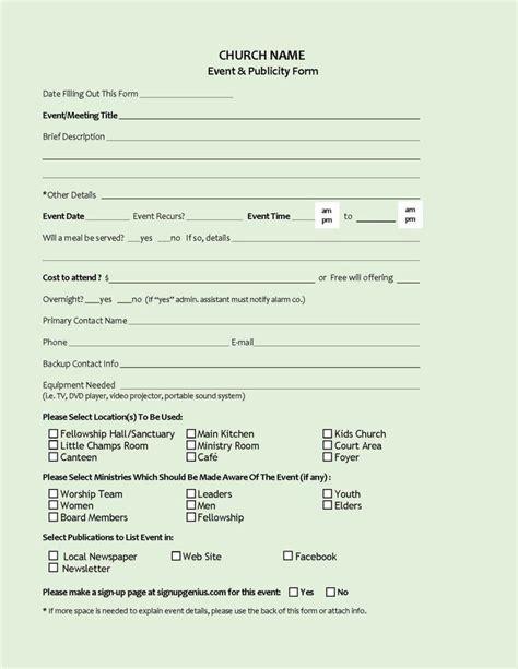 event publicity form event proposal church nursery