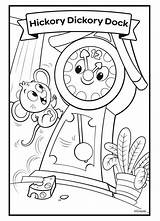 Dock Hickory Dickory Coloring Nursery Rhymes Crayola Disney Princess Aurora Sunshine Snow Teddy Animal sketch template