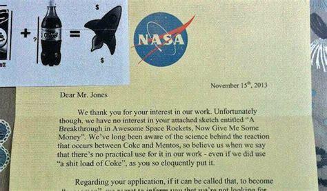 hilarious nasa rejection letter