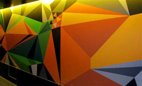neon geometric wall art painted wall design