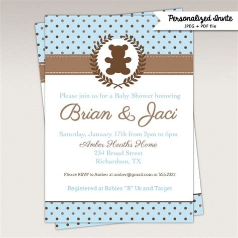 blue  brown teddy bear provence baby shower invitations