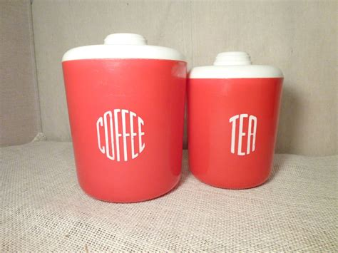 Red canisters kitchen canister sets coffee canister coffee type best coffee coffee drinks coffee cans different types of coffee strawberry fruit. Red Canister Set Retro Camper Glamping Rv Trailer Vintage Lustroware Flour Can Coffee Canister ...