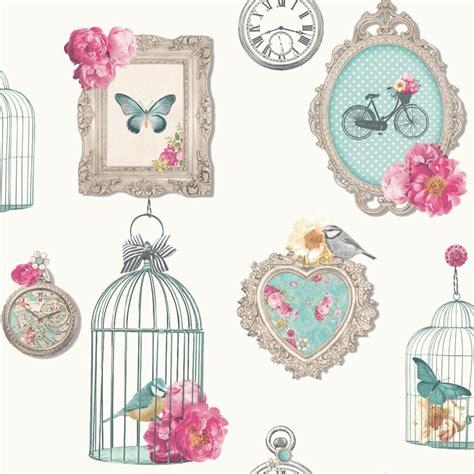Arthouse Madeline Frames Shabby Chic Wallpaper Bird Cage