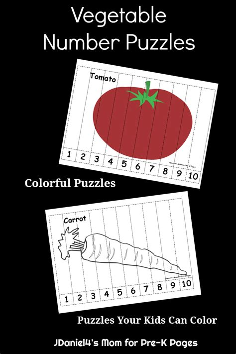 vegetable number puzzles pre  pages