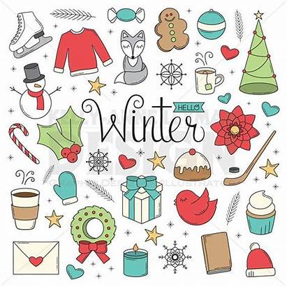 Winter Doodles Christmas Objects Doodle Clip Clipart