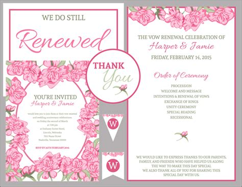 vow renewal invitation suite pink roses