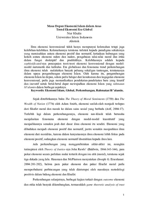 (PDF) Masa Depan Ekonomi Islam dalam Arus Trend Ekonomi