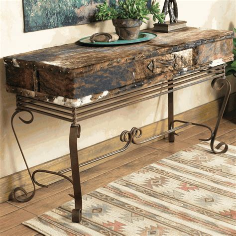 Cowhide Table by Western Furniture Cowhide Sofa Table Lone Western Decor