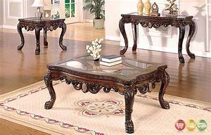 Ornate traditional living room occasional tables 3 piece for Traditional glass top coffee table